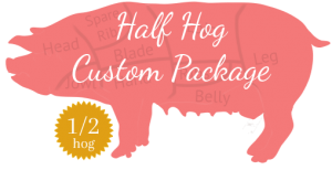 An image of a pig with text - half hog custom package for sale.