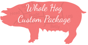 An image of a whole hog with custom meat cuts indicated.